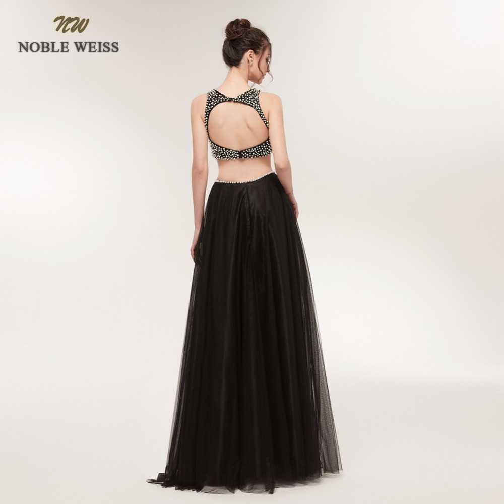 NOBLE WEISS Sexy A-Line Evening Dresses Two Pieces Beading Tulle Prom Gown Robe de Soiree 2019 Formal Special Occasion Gowns