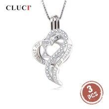 CLUCI 3 uds. Medallón colgante de plata 925 corazón PERLA para mujer collar 925 plata esterlina circón colgante regalo del Día de la madre SC353SB