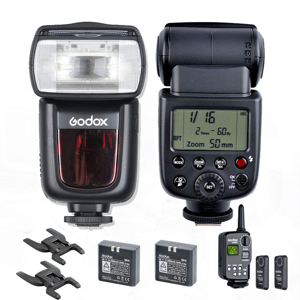 2Pcs Godox VING V850 Li-ion Flash Wireless Speedlite W/ FT-16S Flash Trigger KIT godox v860n new li ion battery flash speedlite ft 16s flash trigger set cells ii wireless transceiver trigger for nikon