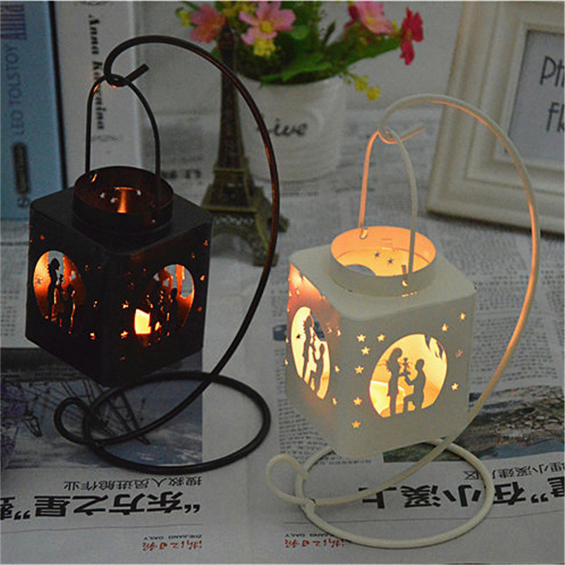 Fashion Creative AIron Square Hollow Candle Candlestick Candle Holder Hang on The Tree or Wall Home Wedding Decoration 1
