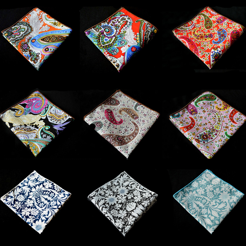 Men Cotton Paisley Flower Pocket Square Wedding Colorful Handkerchief Hanky BWTYX0505
