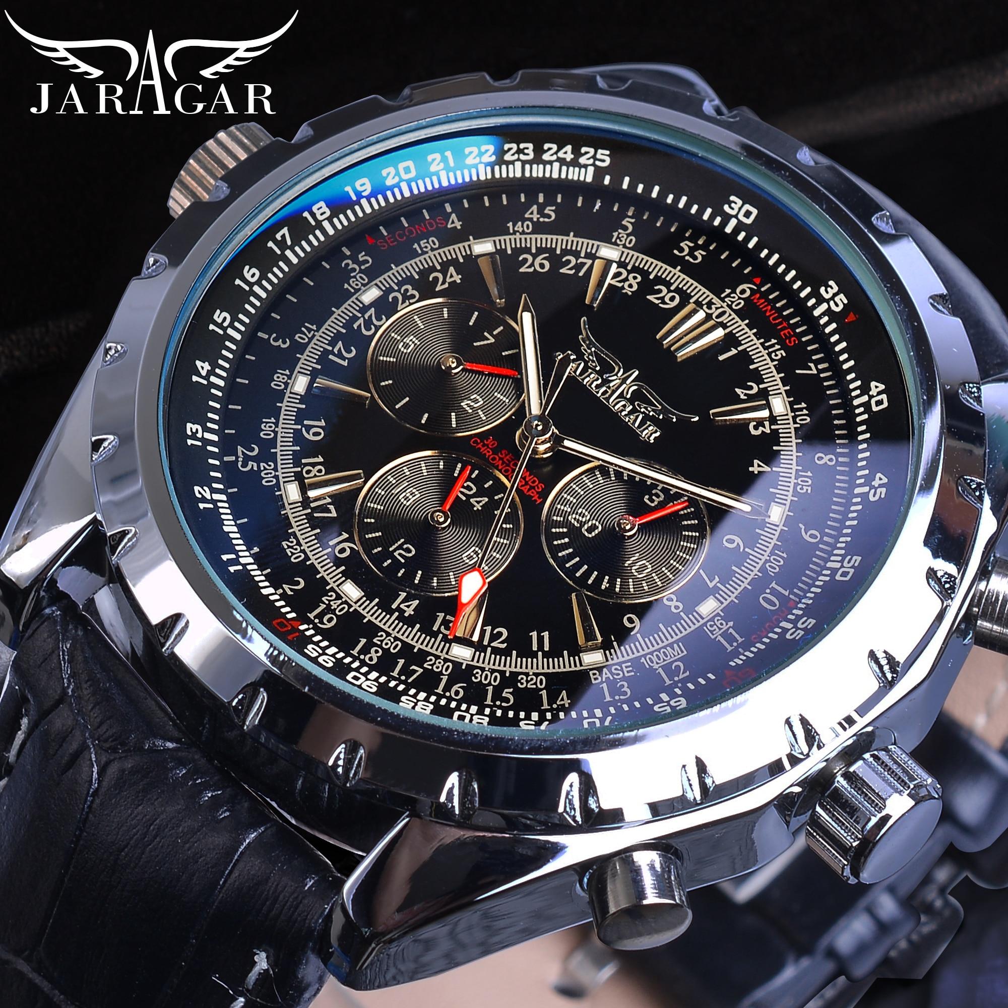 Jaragar Automatic Mens Sport Watches Pilot Military Mechanical Self Wind Black Leather Fashion Wristwatch Male Relogio