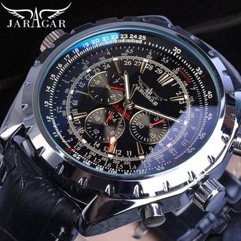 Jaragar Automatic Mens Sport Watches Pilot Military Mechanical Self-Wind Black Leather Fashion Wristwatch Male Relogio Masculino