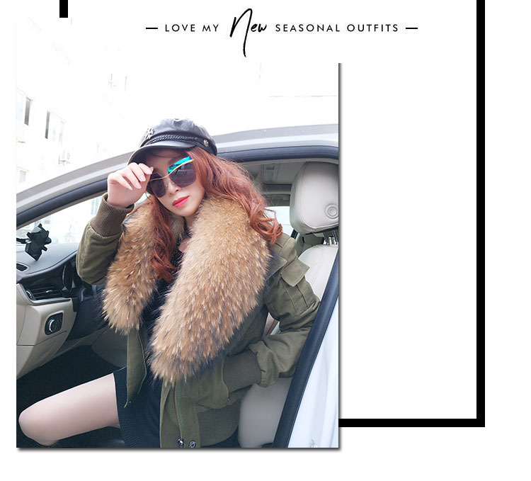women cotton Flight suit jacket with real fur collar (8)