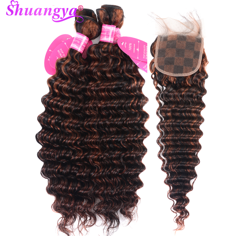 Shuangya Ombre Bundles With Closure Brazilian Deep Wave Bundles With Closure Human Hair 3 Bundles With Closure 1B/33 Remy Hair