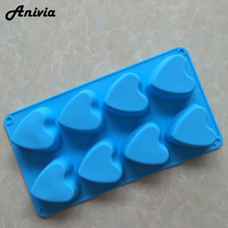 8 Cavity Heart Silicone Fondant Mold Cake Chocolate Cookie