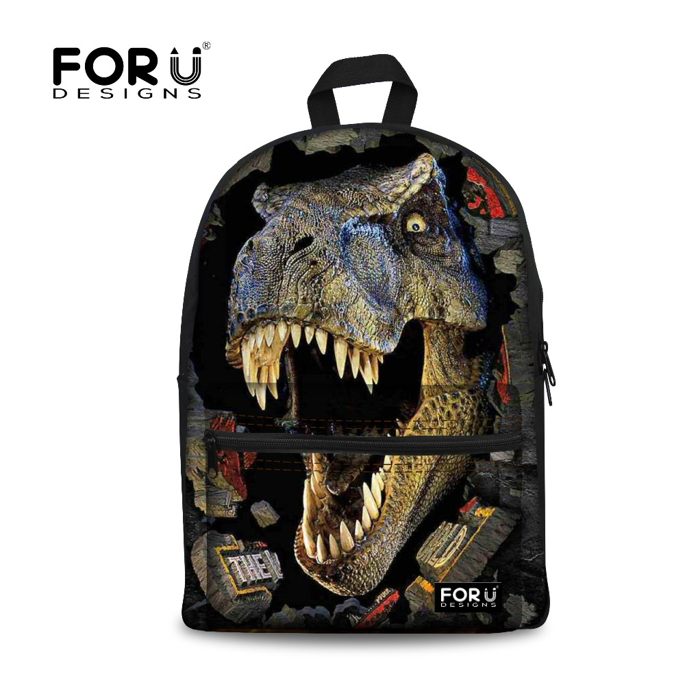 2016 Fashion Children School Bags Cool 3D Dinosaur Backpack for Teenagers Boys Zoo Animals Schoolbag Kids Canvas Bookbag Mochila