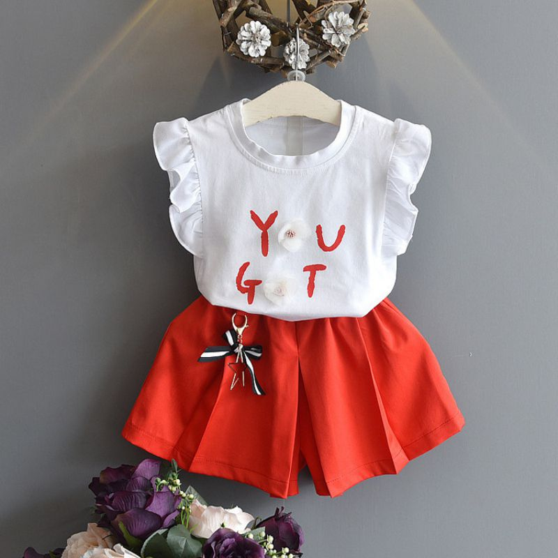 2018 sweet fashion girls suit sleeveless letter print stereo flower tops + fashion accessories shorts baby suit kids letter print sleeveless tee with tropical print pants