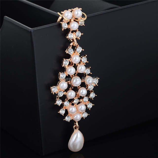 1 Pc Faux Pearls Bindi Hair Clip Chain Barrettes Fashion Head
