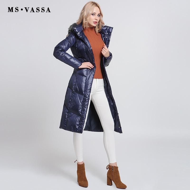 MS VASSA Women Down jacket Ladies 2017 New Autumn Winter White duck down long coats stand
