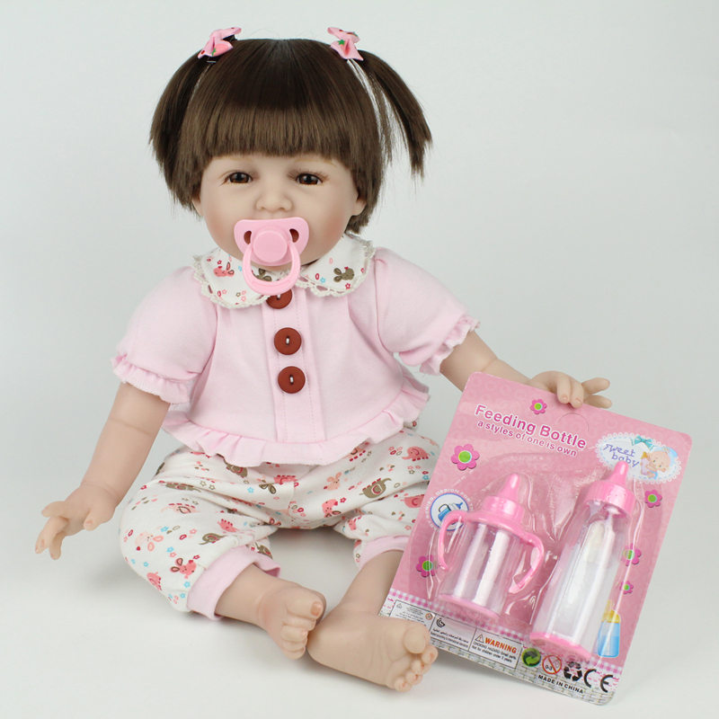 Lovely Girl Doll 55CM Silicone Reborn Dolls Toys 22inch Lifelike Realistic Bebe Reborn Brinquedos For Children Chirstmas Gift
