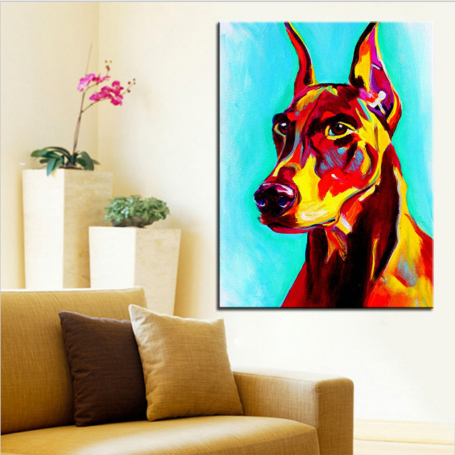 Large size Print Oil Painting doberman prince Wall painting Home Decorative Wall Art Picture For Living Room paintng No Frame
