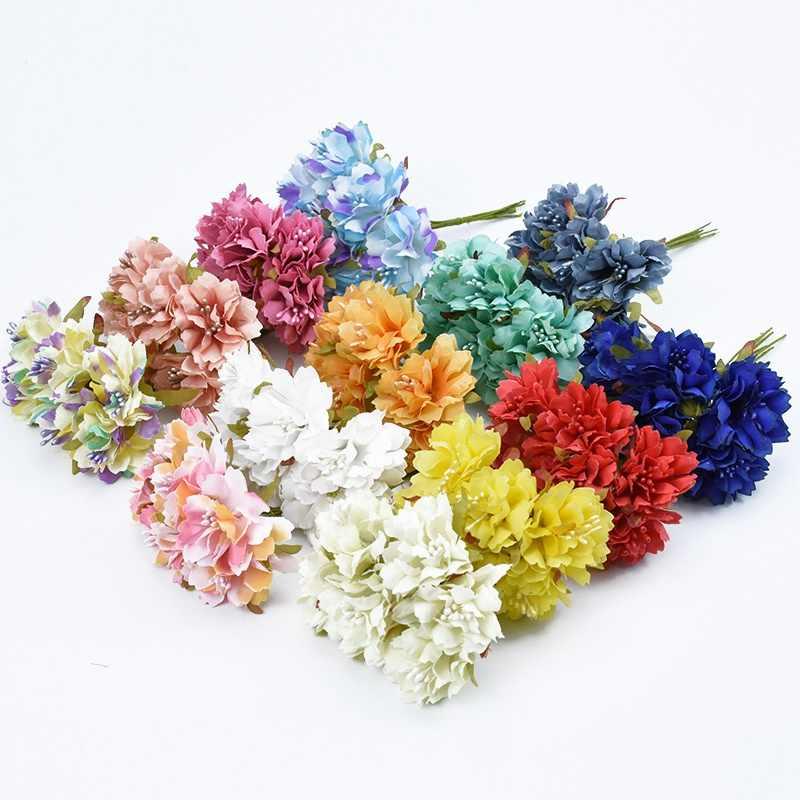 Bouquet de noiva de seda Cravo apuramento acessórios scrapbooking diy grinalda do natal casamento casa decoração flores artificiais