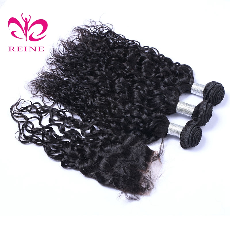 Reine store 2/3/4 water bundles with closure brazilian human hair 8~26 inch available natural color none remy hair free shipping
