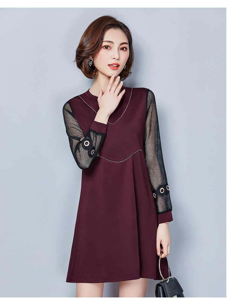 5xl בתוספת נשים גודל גדול בגדי 2018 אביב קיץ סגנון vestido קוריאני סתיו נשי שמלת תפר רשת מזדמן דק רופף Y1274