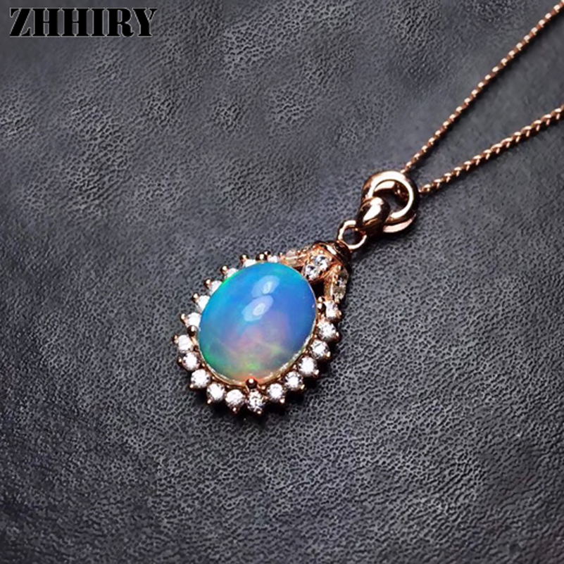 ZHHIRY Natural Opal Necklace Pendant Genuine 925 Sterling Silver For Women With Chain Real Color Gemstone Fine JewelryZHHIRY Natural Opal Necklace Pendant Genuine 925 Sterling Silver For Women With Chain Real Color Gemstone Fine Jewelry