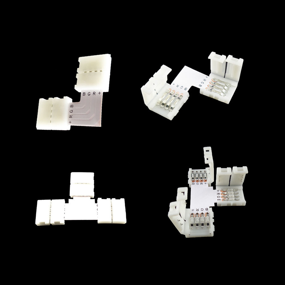 8pcs L T Connectors Female Extension Adapter 4Pin 10MM RGB No Soldering For 5050 LED RGB Strip Qaulity Product HQ