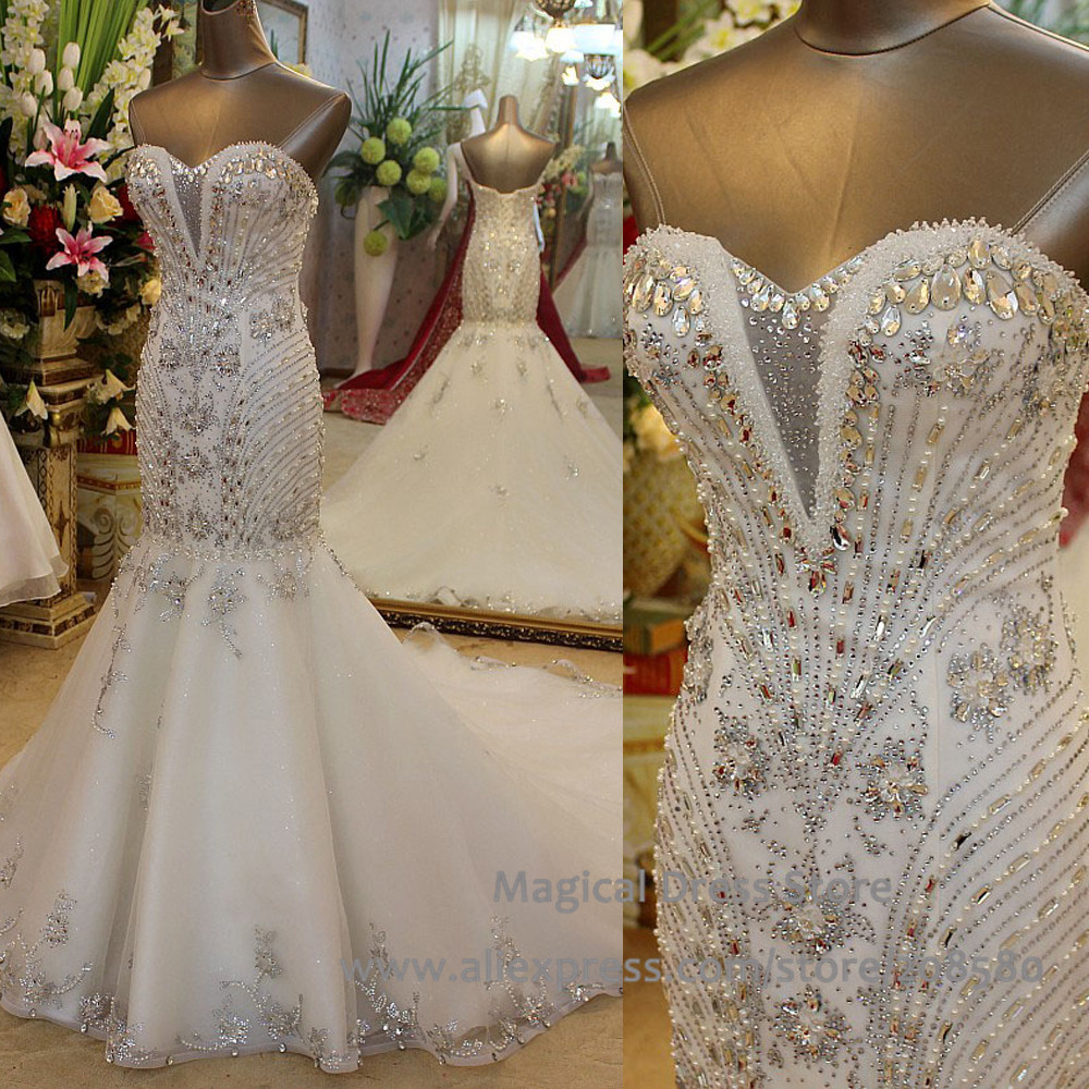 Real Picture Mermaid China Wedding Dresses Crystal Tulle Corset Back ...