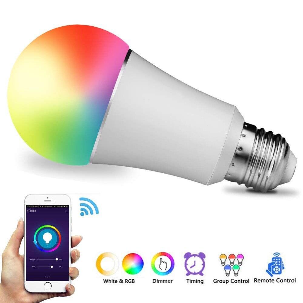 E27 Bombilla LED RGBW multicolor regulable con temporizador//Control de grupo//Modo de m/úsica Bombilla inteligentes WiFi para Alexa y Google Home Remote control by Smartphone iOS /& Android