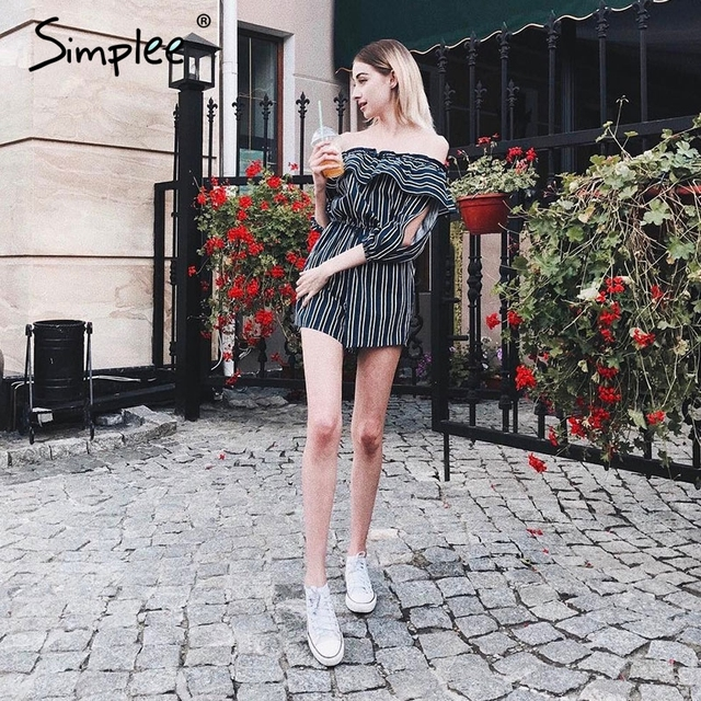 Simplee Off shoulder ruffle stripe jumpsuit romper Elegant hollow out flare sleeve overalls Summer beach playsuit women outfit
