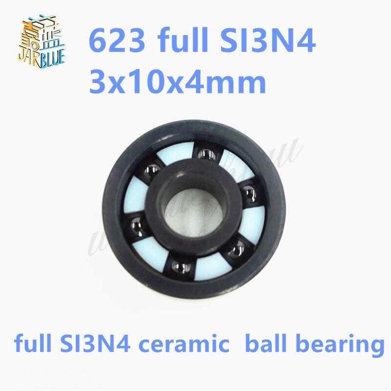 Free shipping 623 full SI3N4 ceramic deep groove ball bearing 3x10x4mm ABEC1 v623zz 623vv 623 v groove deep groove