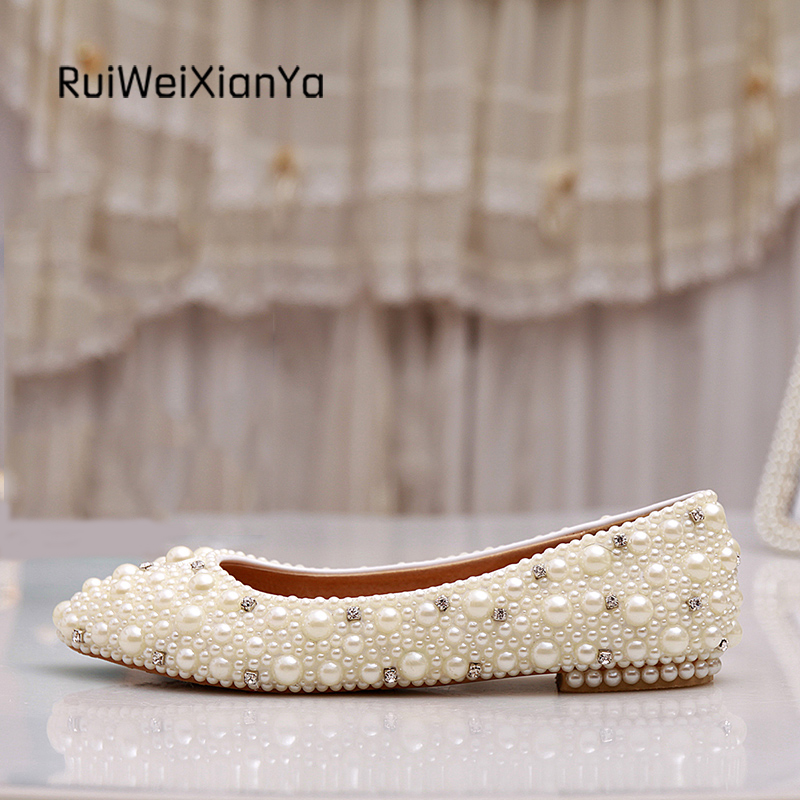 2017 New Fashion Spring Ladies Party Shoes Woman Flats Zapatos Mujer Crystal White Pearl Wedding Shoes for Bridal Plus Size Hot 2017 new fashion spring ladies pointed toe shoes woman flats crystal diamond silver wedding shoes for bridal plus size hot sale