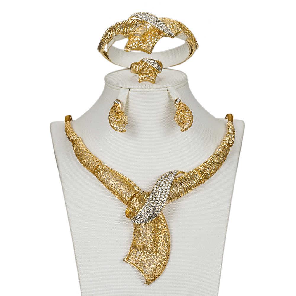 MUKUN Luxury african beads jewelry set bridal gift Gold Color jewellery Nigerian Wedding dubai jewelry sets Design Accessories