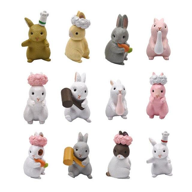 6 pçs/set Micro Mini Miniaturas Artesanato Animal PVC Modelo de Coelho Lebre Ornamento estatueta para Casa e Decoração Do Jardim Aleatória Mista