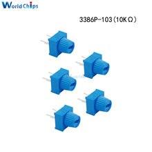 Potentiomètre de coupe 3386P-1-103, résistance 10 kΩ Ohm 10K, avec bouton, tour unique, pour Arduino, 5 pièces