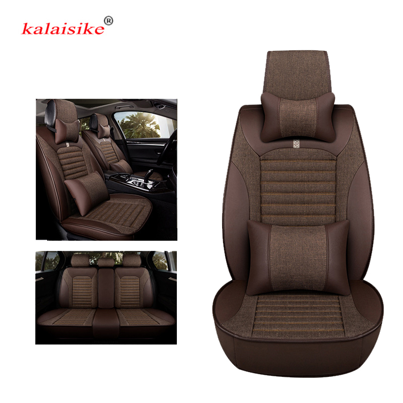 kalaisike Leather Plus Flax Car Seat Cover Automobile Seat Protection Cover Vehicle Seat Cover Universal Car Accessories Styling цена
