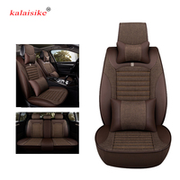 kalaisike Leather Plus Flax Car Seat Cover Automobile Seat Protection Cover Vehicle Seat Cover Universal Car Accessories Styling