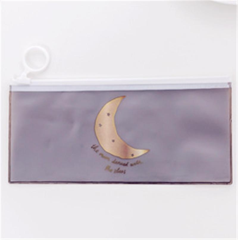 Милый прозрачный чехол-Карандаш для девочек Kawaii Stars ПВХ школьная сумка для карандашей канцелярские принадлежности офисные принадлежности Escolar пенал