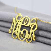 Wholesale Golden Monogram Necklace 2 Hook Personalized 3 Initial Nameplate Pendent Custom Silver Jewelry Design Christmas