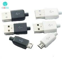 10 шт., штекер MICRO USB 5P, адаптер для сварки типа A, комплект для самостоятельной сборки, черно белая USB штепсельная вилка, 5 контактный 5 контактный usb разъем для зарядки