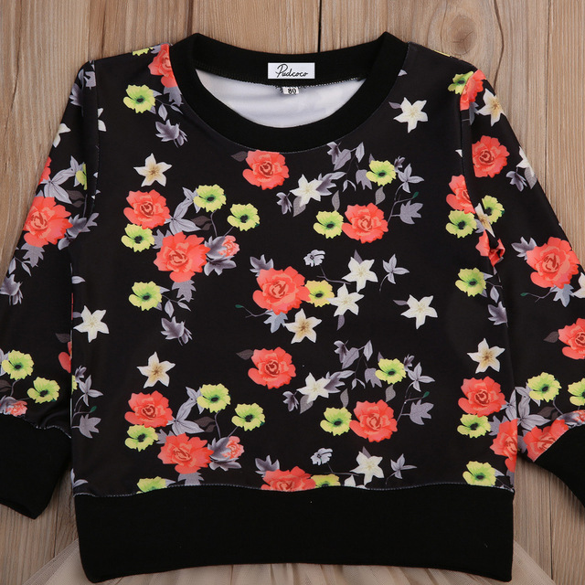 a3814b0ea Flower Kids Girl Clothes Set Baby Girl Floral Long sleeve Tops Shirts+Princess  Tulle Tutu Skirts ...