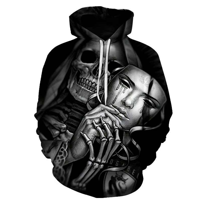 BIAOLUN 새로운 패션 남자/여자 3d 후드 두개골 샴페인 인쇄 후드 티 후드 얇은 3d 스웨터 블랙 Hoody 가을 WintTops