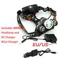Оптовая цена! RJ 3000 6000 люменов CREE XML T6 + 2R5 3 светодиодных фар, фары, Рыбалка, головной лампы Light + зарядное устройство AC + Автомобильное зарядное устройство