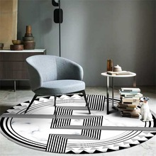 Fashion simple ins geometric imitation marble round carpet Non-slip Balcony coffee table hanging basket home decoration mat