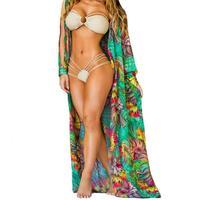 Women Summer Beach Wear Floral Bikini Cover Up Slit Sleeve Irregular Chiffon Cardigan Suncare Long Open Shirt 1