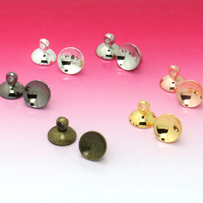 50pcs 6//8mm Blank Round Cup Cap for Gluing Ball Bead Bail Connector DIY Pendant