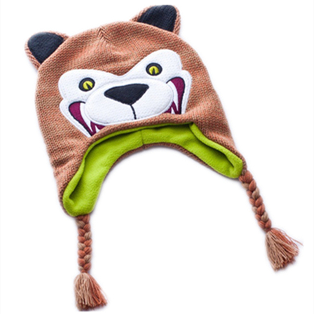 729c7a42586 Cartoon Bear Grizzly wool Cotton knitting winter Warm thick plush hats kid  baby Animals Soft Cosplay Caps Fleece Lining Beanies