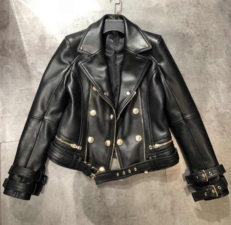 Korean Fashion Slim Fit Short Jacket Double Breased Woman Lamb Nappa Leather Coat Cool Black Genuine Leather Jacket Women