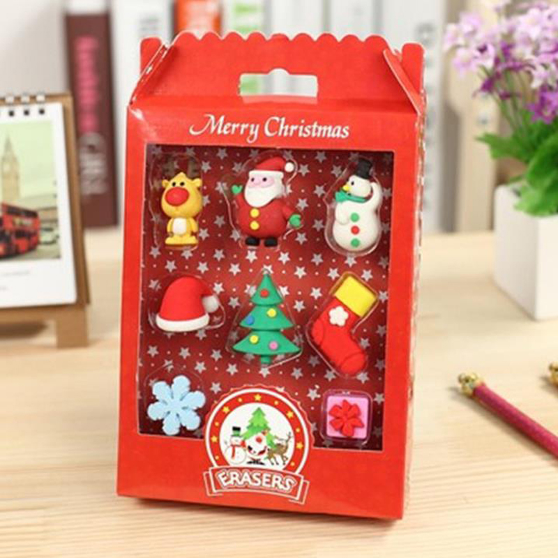 8 Pcs/pack Cartoon Mini Merry Christmas Tree Santa Claus Snowman Elk Snowflake Rubber Pencil Erasers Kawaii Stationery Gifts