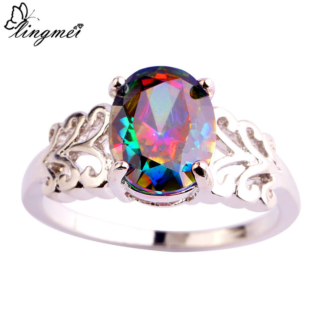 lingmei New Big Promotion Mysterious Multicolor Silver Zircon Ring Size 6 7 8 9