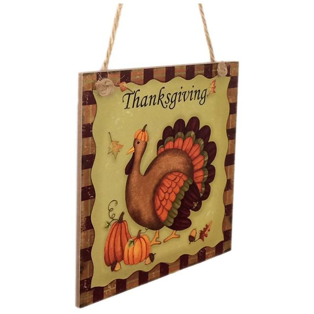 Rustic Wooden Plaque Thanksgiving Turkey Wall Art Hanging Board ...