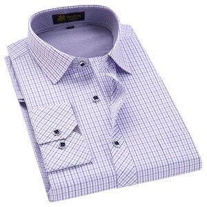 Image 3 - Klassieke Stijl Plaid Shirt Voor Mannelijke Zijde En Katoen Lange Mouwen Slim Fit Strijkvrij Causale Mannen shirts