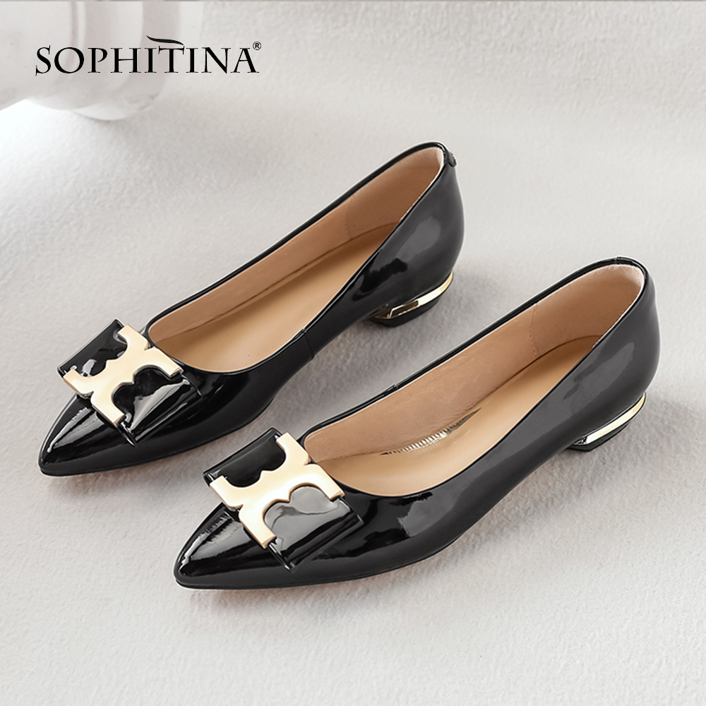 Sophitina Décoration À Printemps Chaussures Mode So82 white De red Vache Grande Main La En Décontracté Sexy Black Femmes Taille Métal Bout Cuir Pompes Pointu rwTxr6qY