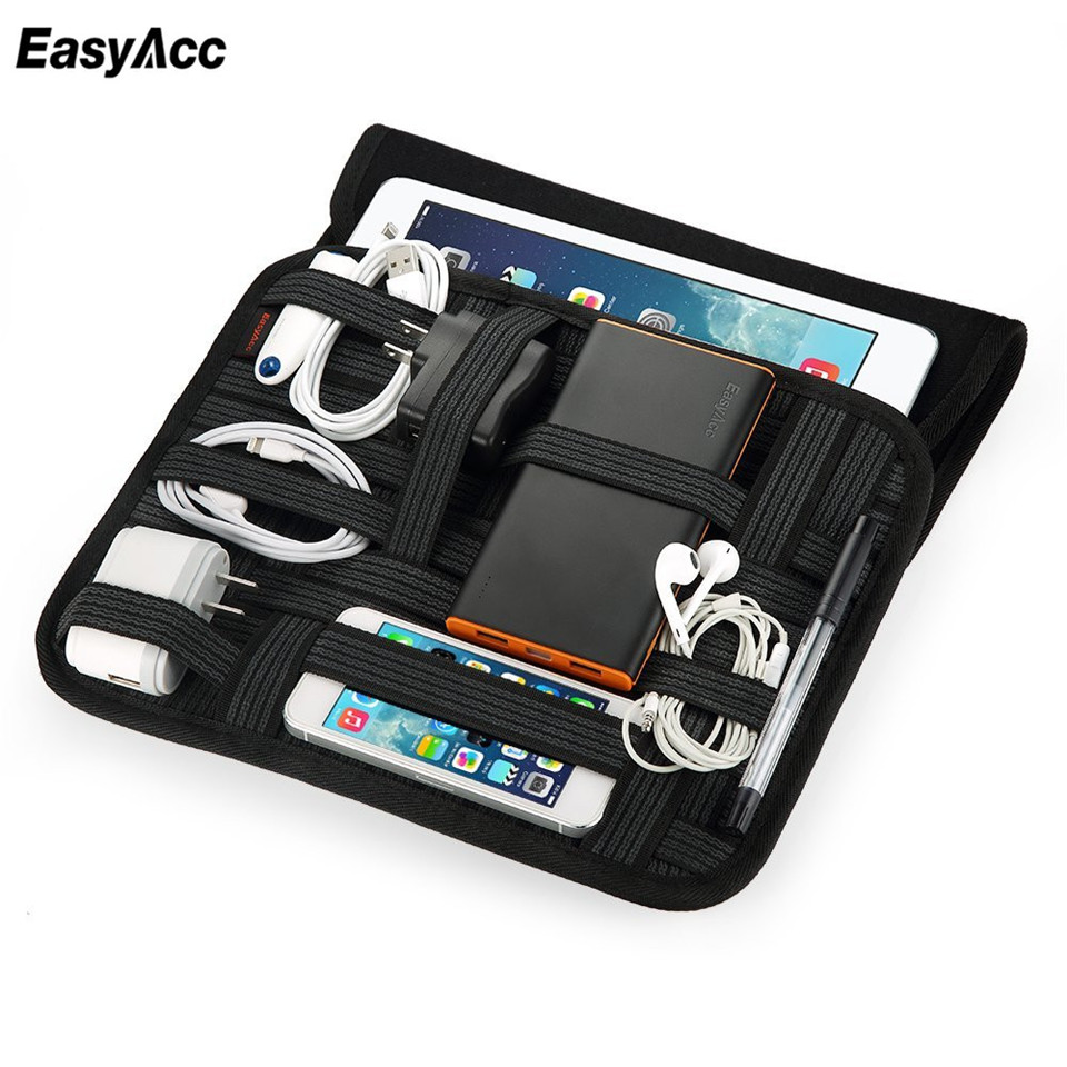 EasyAc Portable Power bank USB Cable Travel Pounch For Anker Rock Ugreen Cable Organizer with Laptop Sleeve Bag free shipping ...
