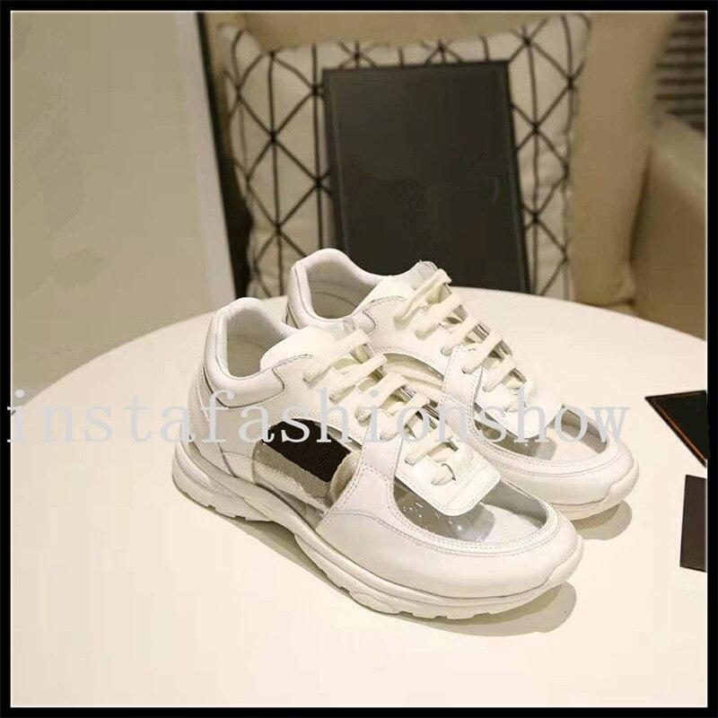 women sneakers brand design PVC transparen trainer shoe breathable casual desginer shoes lace up tenis shoes