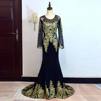 Real Photos Luxury Bling Wedding Dresses 2019 New Arrival Muslim A line Short Tail Black Blue Embroidery Lace Edge Long Sleeve